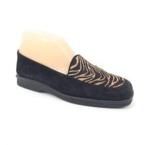 Stuart Weitzman Black Tiger Stripe Leather Loafers